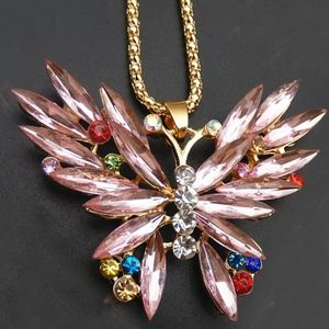 Pink Crystal Butterfly Insect Necklace